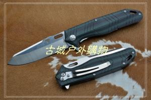 鹰头标92003线锁G10柄8Cr14钢凹凸折刀