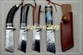 手工锻打羊角柄北欧高硬度大马士革花纹钢猎刀